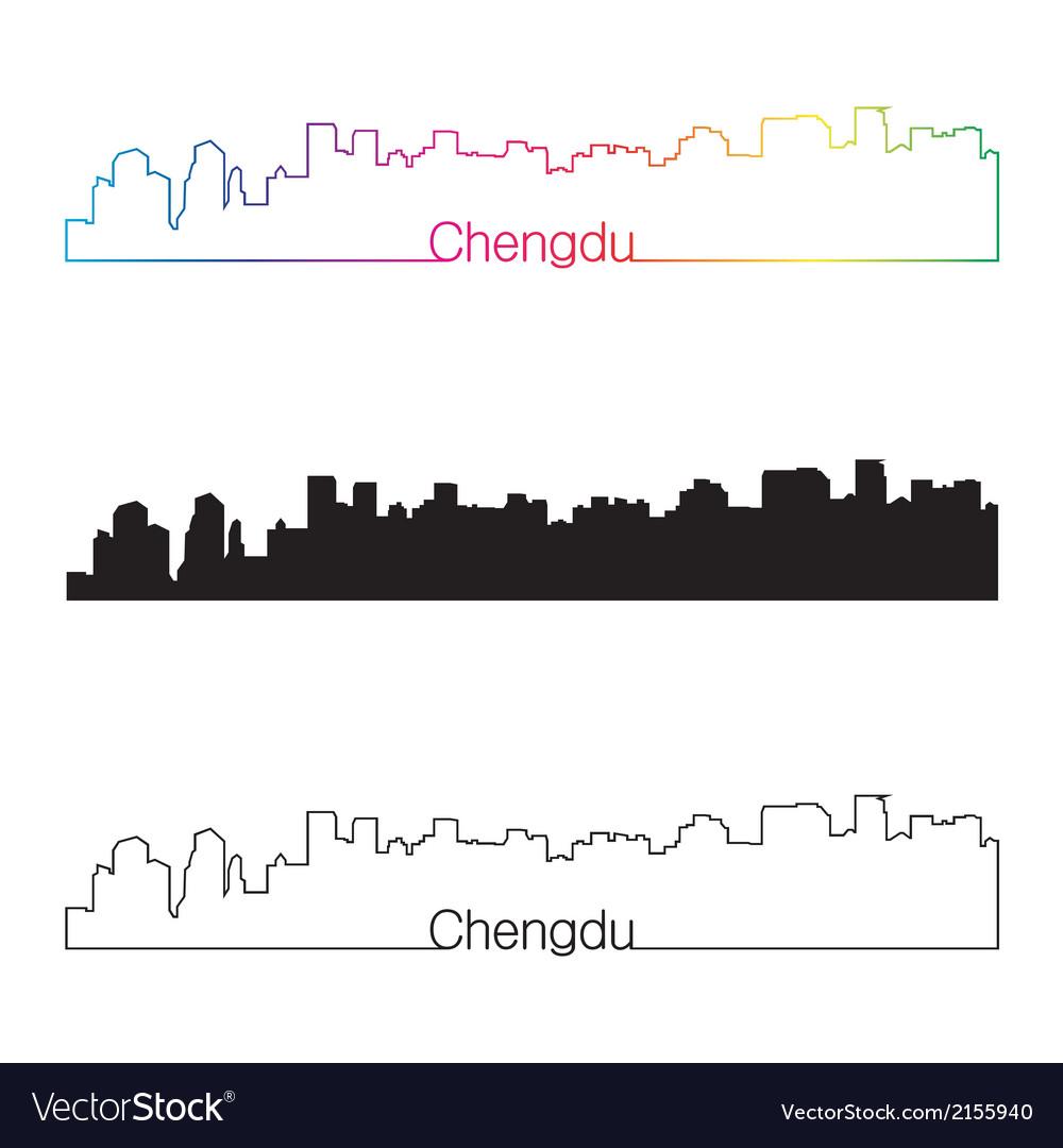 Chengdu skyline linear style with rainbow vector | Price: 1 Credit (USD $1)