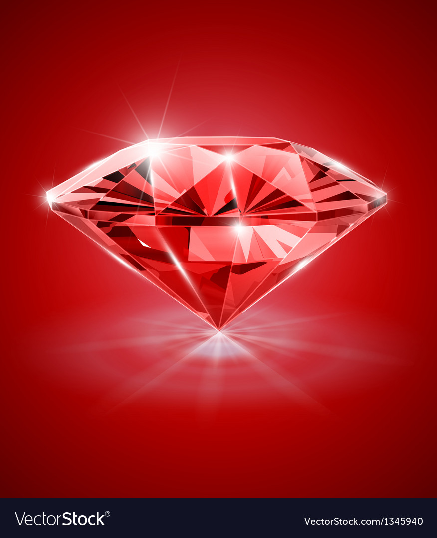 Diamond on red background vector | Price: 1 Credit (USD $1)