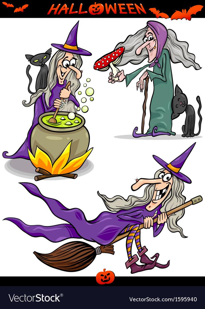 Halloween cartoon spooky themes set vector | Price: 1 Credit (USD $1)