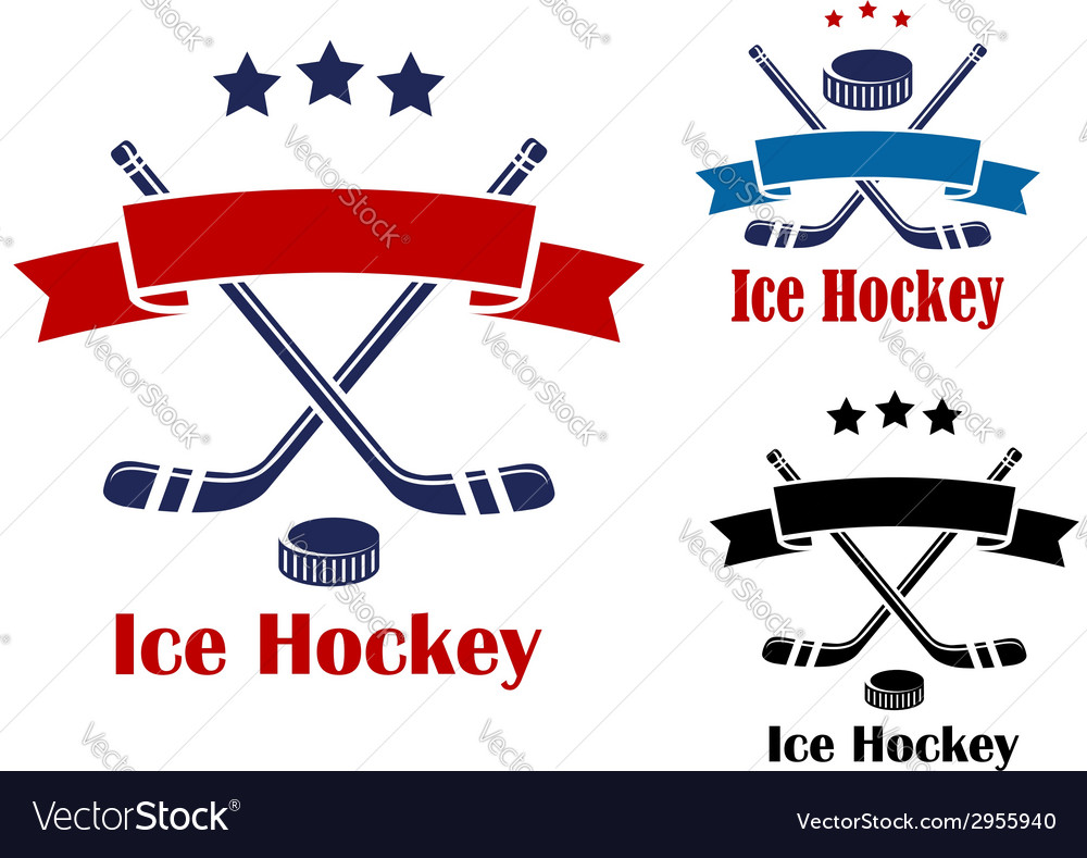 Ice hockey emblems or banners vector | Price: 1 Credit (USD $1)