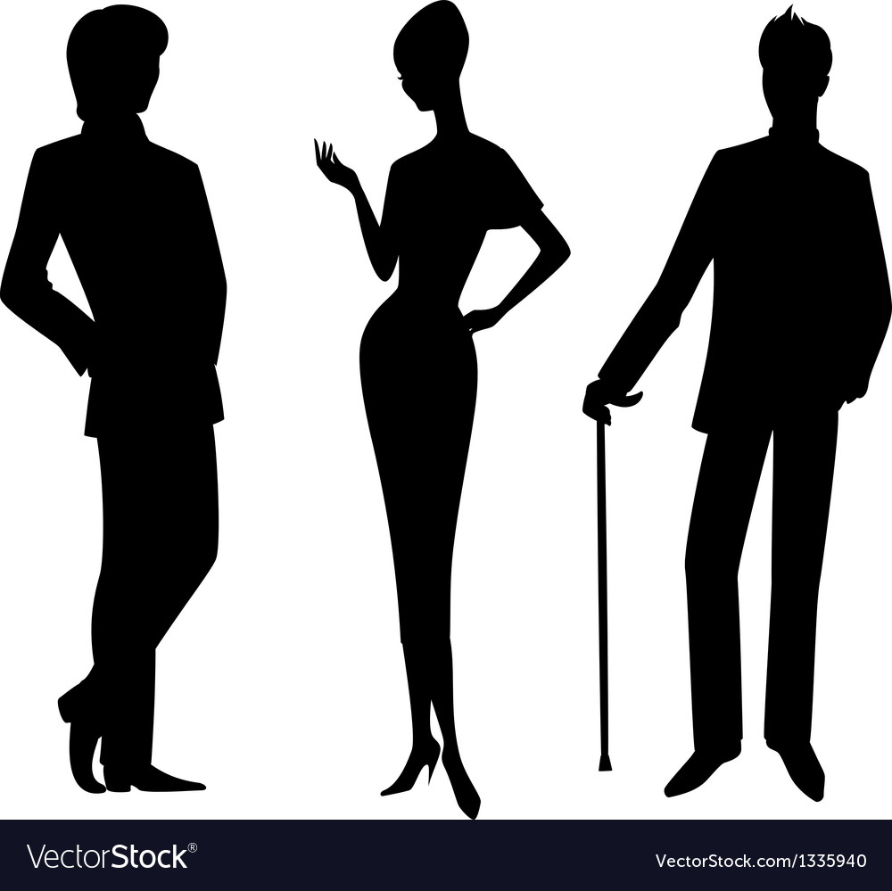 Men and lady silhouette vector | Price: 1 Credit (USD $1)