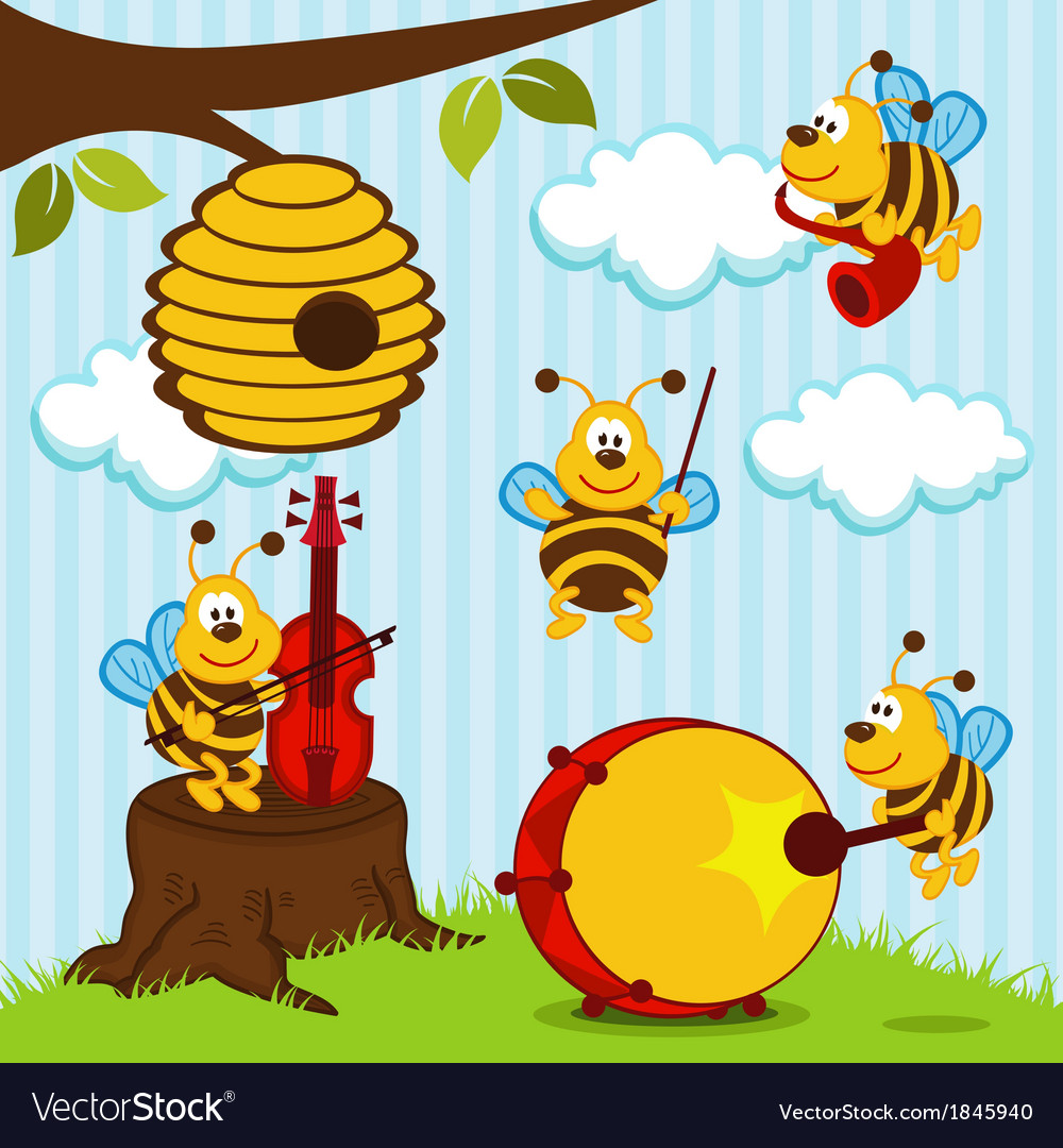 Orchestra musical bees vector | Price: 3 Credit (USD $3)
