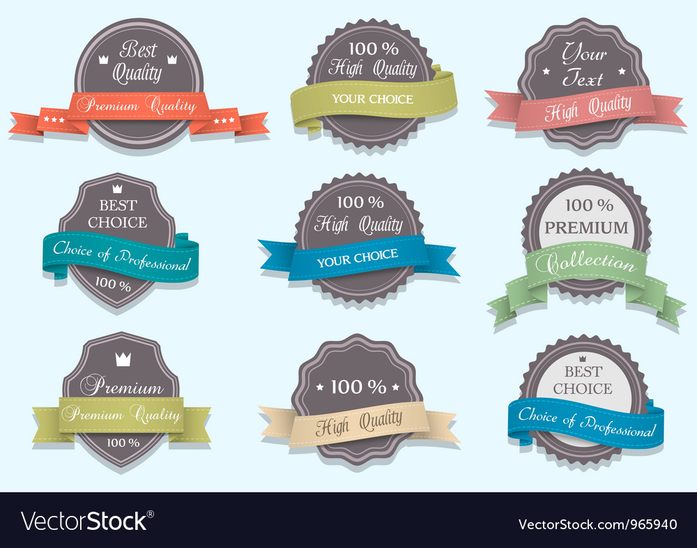 Premium quality labels in retro colors vector | Price: 1 Credit (USD $1)