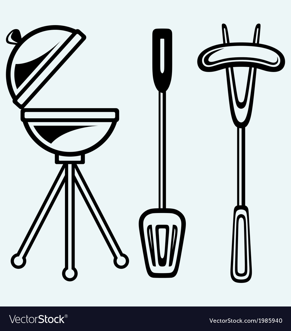 Set of bbq objects vector | Price: 1 Credit (USD $1)