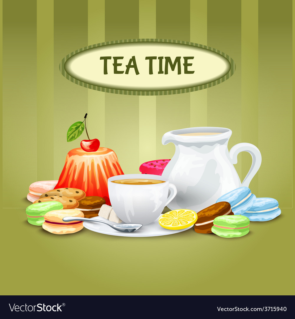 Tea time poster vector | Price: 1 Credit (USD $1)