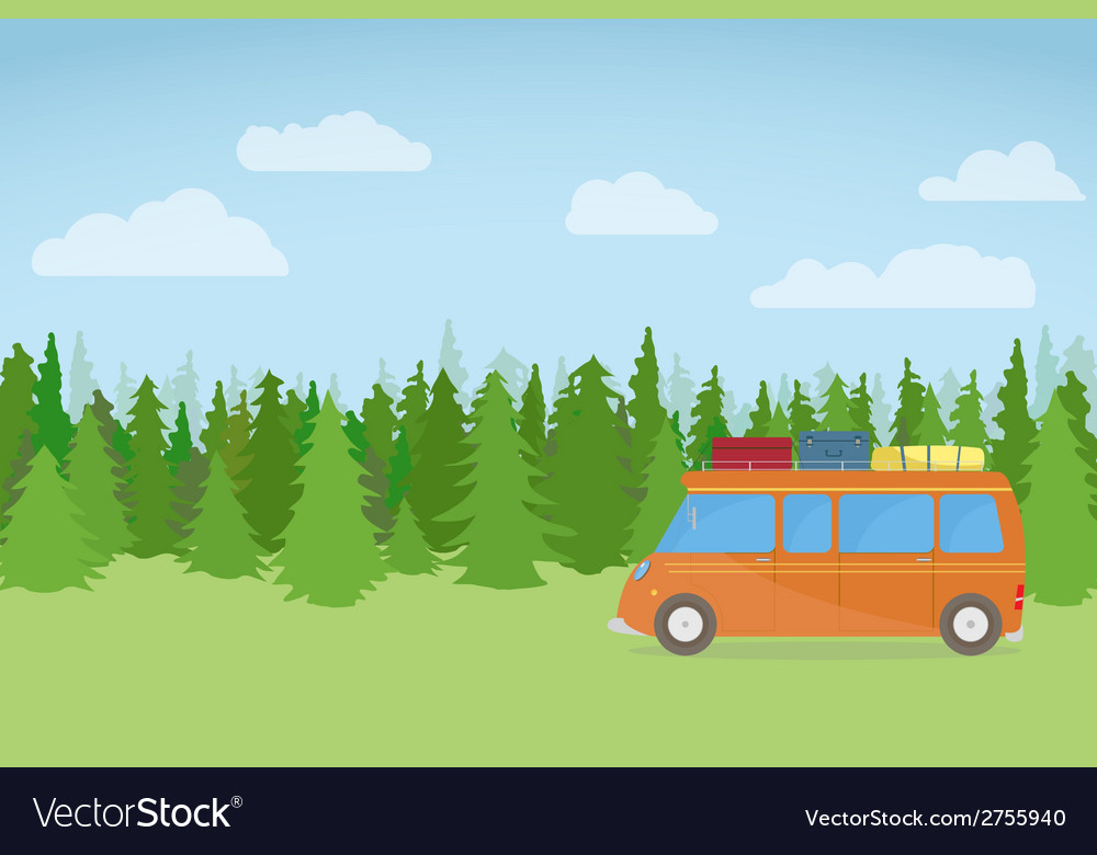 Travel car on hill vector | Price: 1 Credit (USD $1)