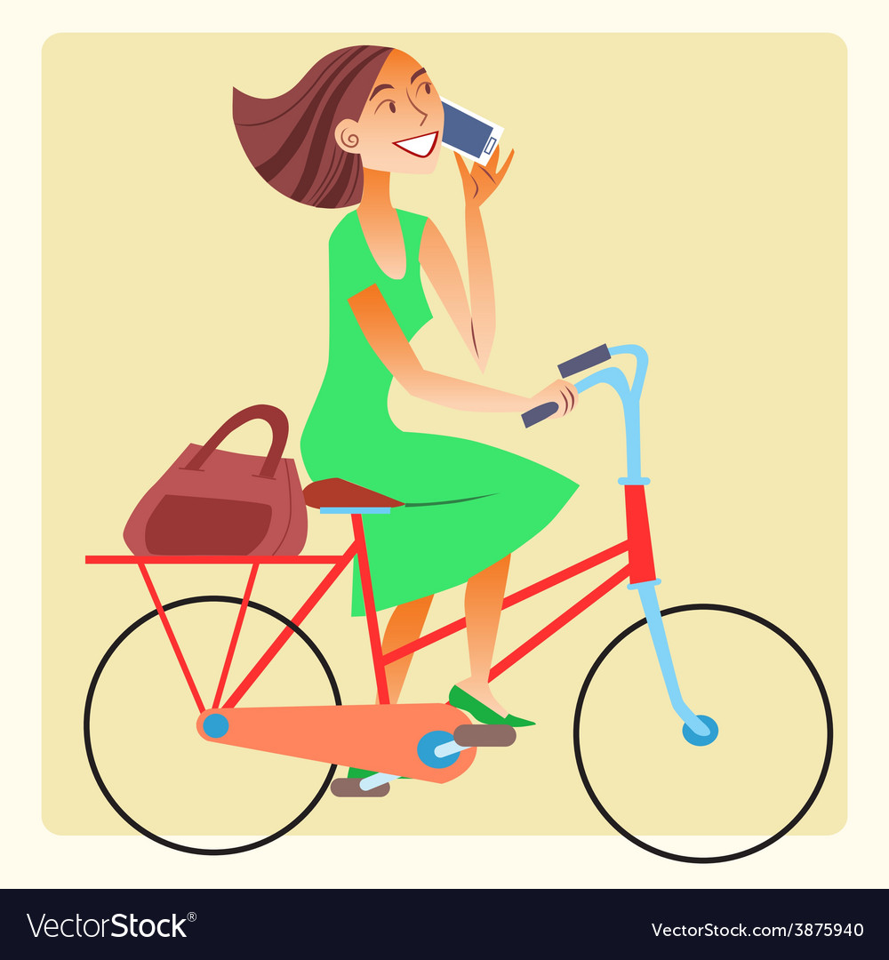 Young woman riding a bike and talking on the vector | Price: 1 Credit (USD $1)