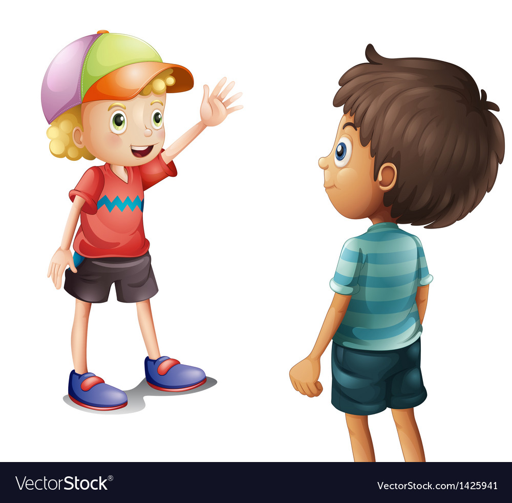 A boy waving at his friend vector | Price: 1 Credit (USD $1)