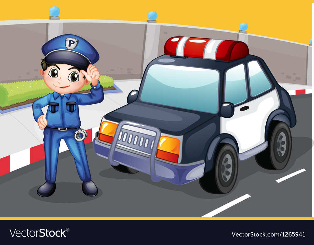 An officer and his patrol car vector | Price: 1 Credit (USD $1)