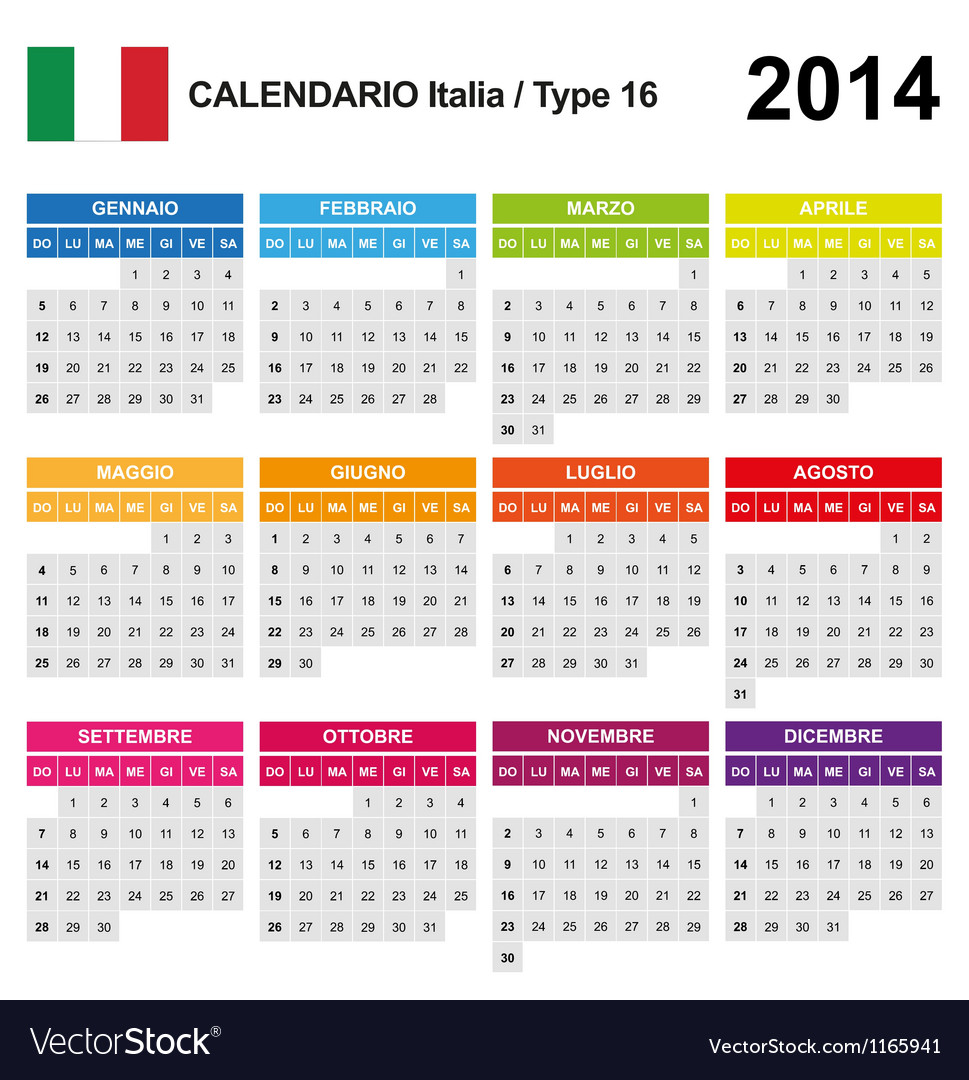 Calendar 2014 italy type 16 vector | Price: 1 Credit (USD $1)