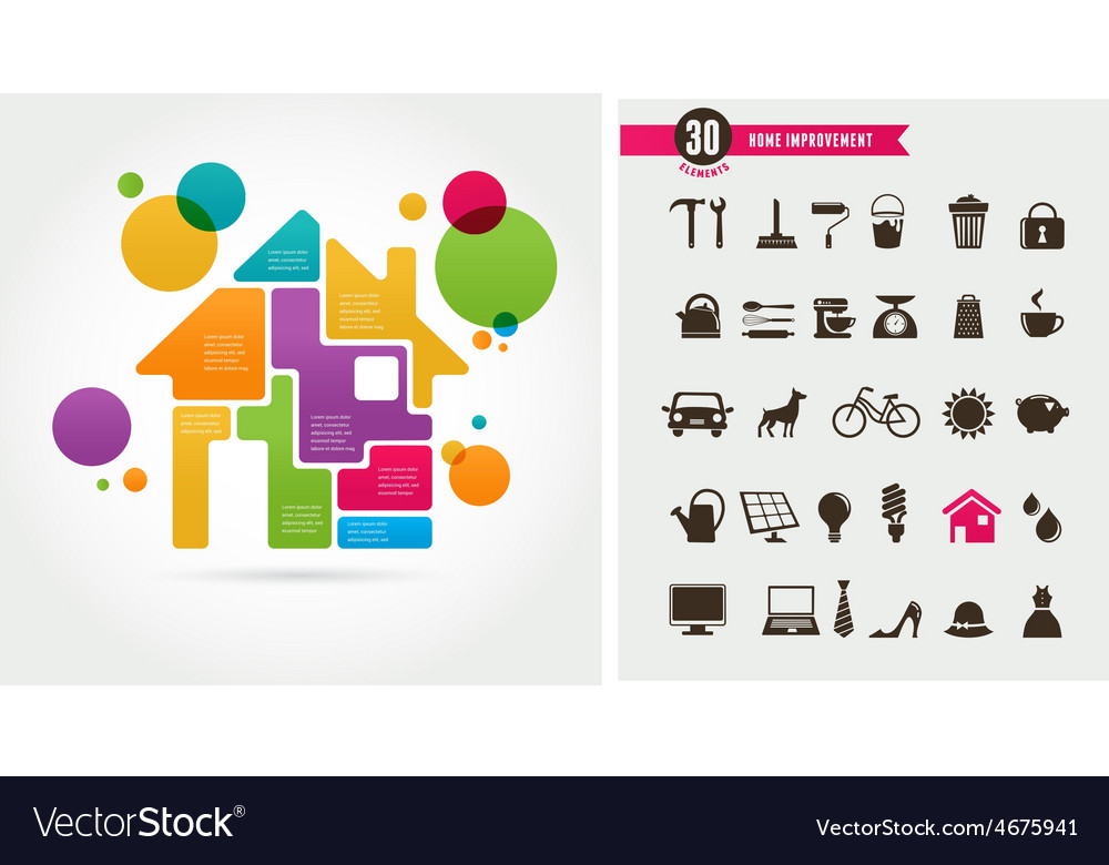 Home - infographics and icon set vector | Price: 1 Credit (USD $1)