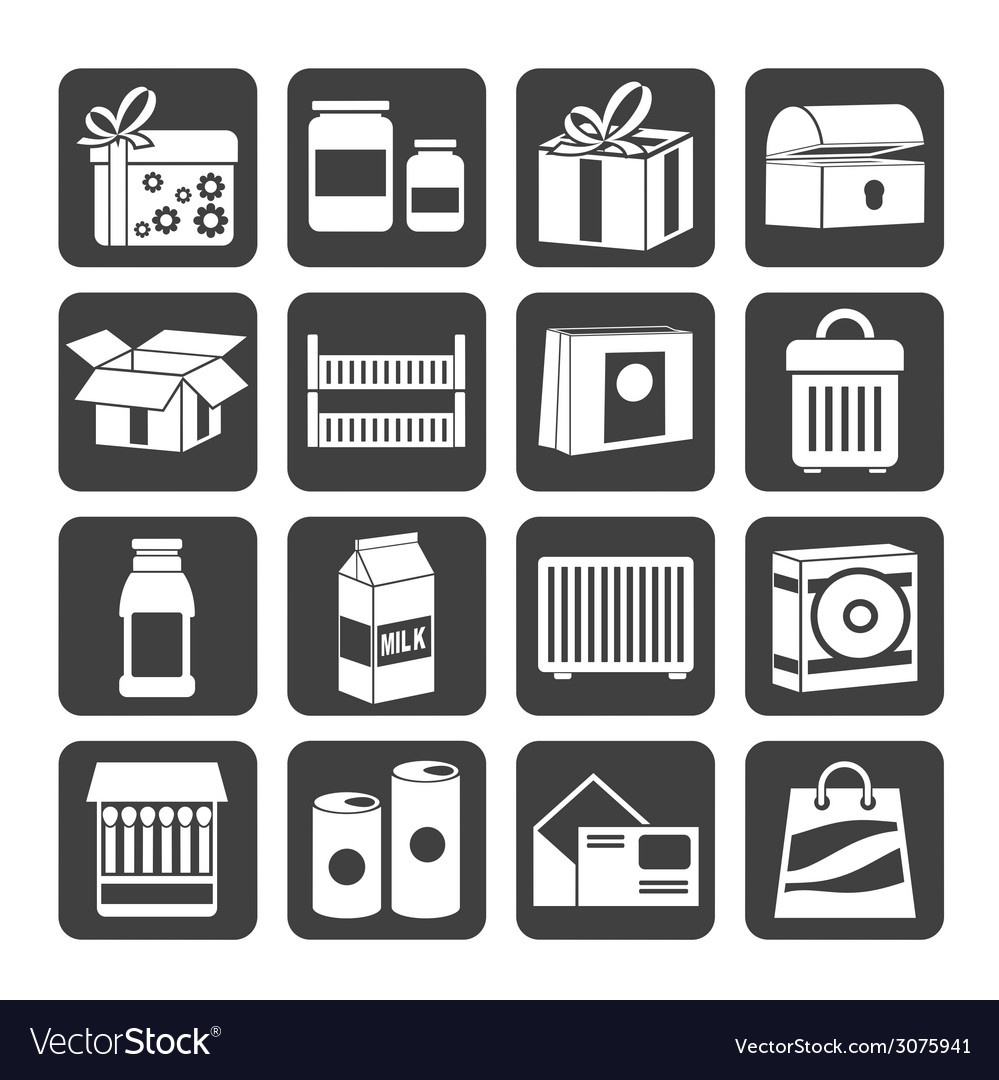 Silhouette different kind of package icons vector | Price: 1 Credit (USD $1)