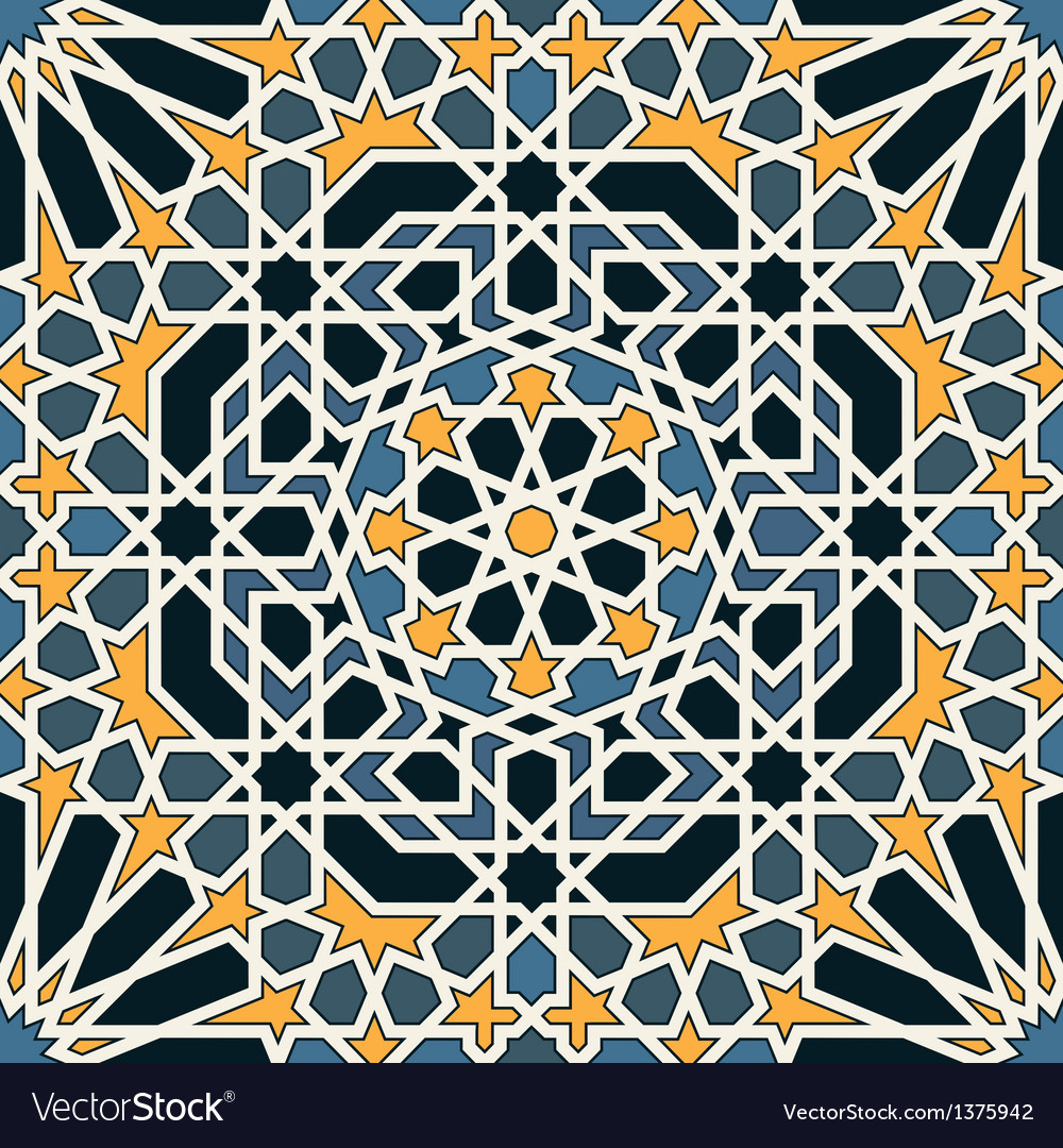 Arabesque seamless pattern in blue and yellow vector | Price: 1 Credit (USD $1)