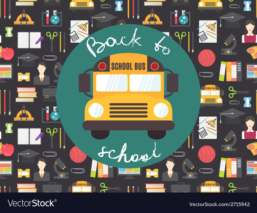 Back to school seamless pattern with yellow bus vector | Price: 1 Credit (USD $1)