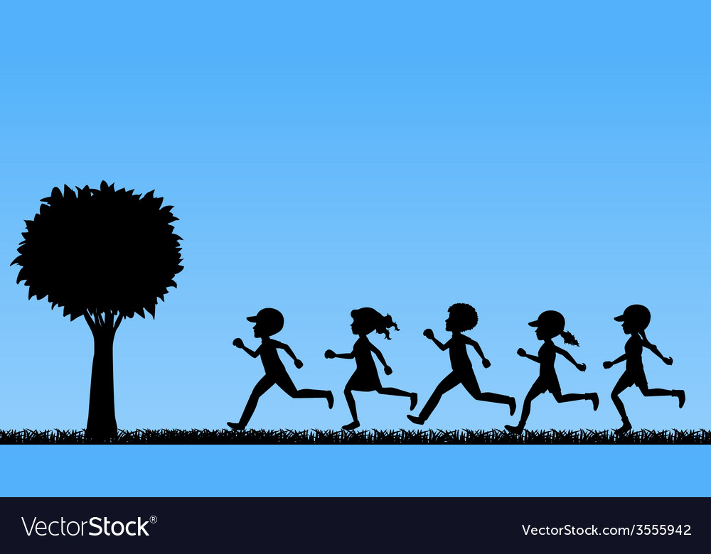 Children running vector