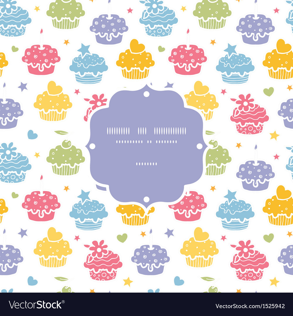 Colorful cupcake party seamless pattern background vector | Price: 1 Credit (USD $1)