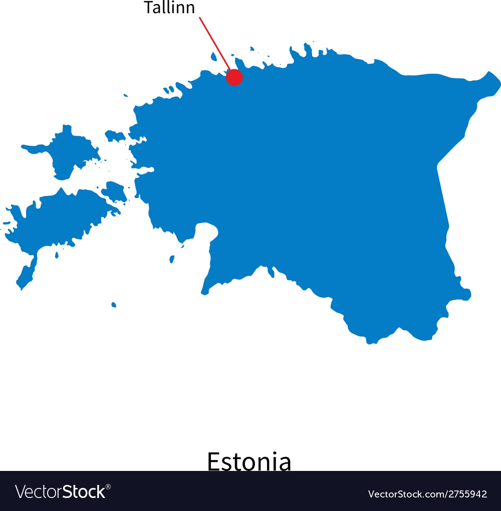 Detailed map of estonia and capital city tallinn vector | Price: 1 Credit (USD $1)