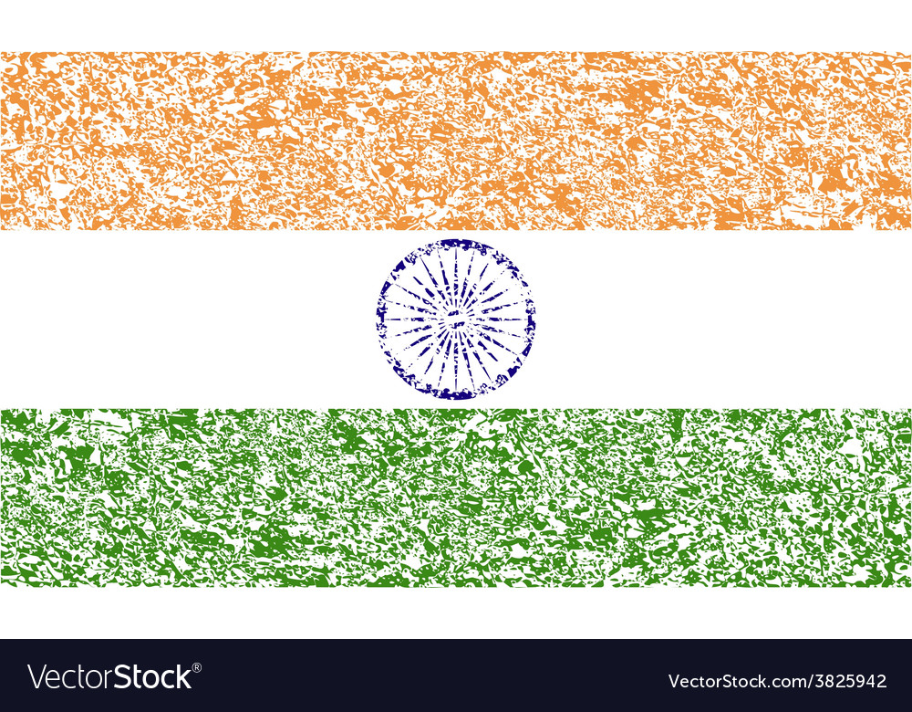 Flag of india with old texture vector | Price: 1 Credit (USD $1)