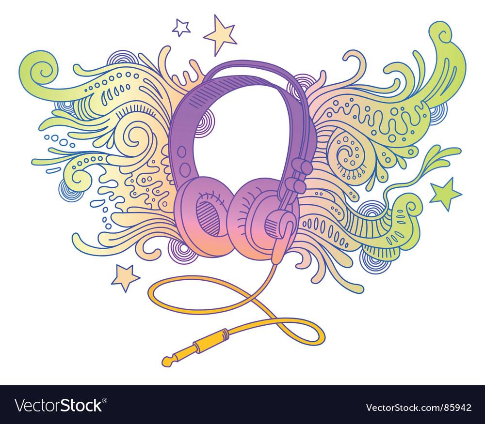 Hand drawn headphones vector | Price: 1 Credit (USD $1)
