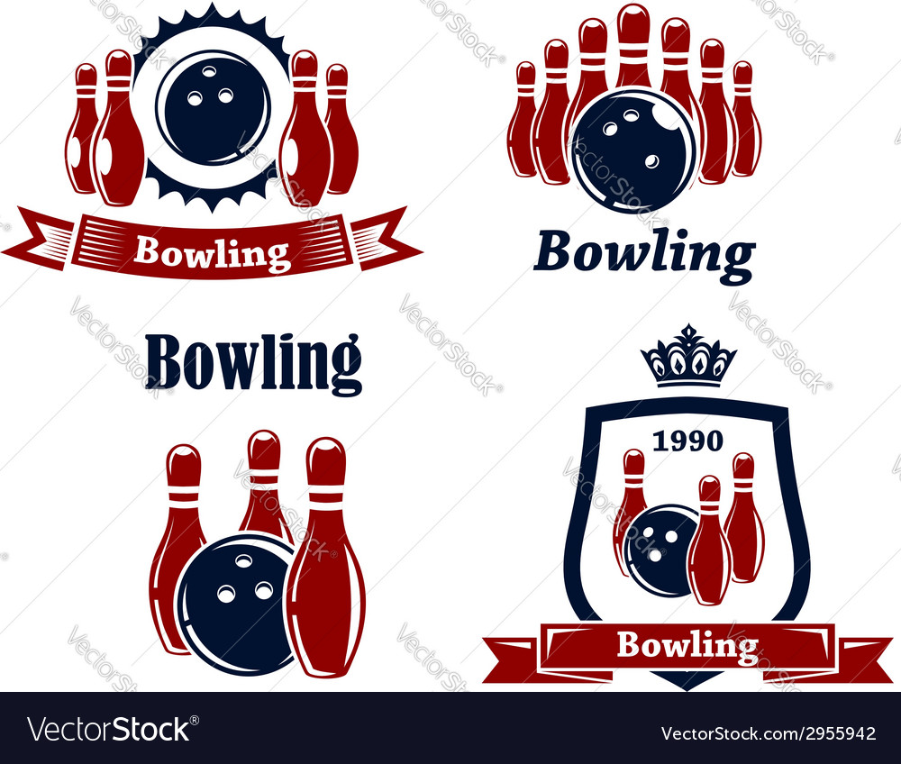 Sporting bowling emblems and symbols vector | Price: 1 Credit (USD $1)