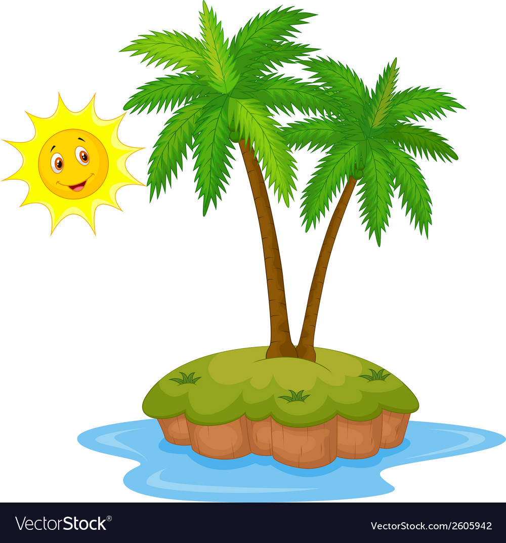 Tropical island cartoon vector | Price: 1 Credit (USD $1)