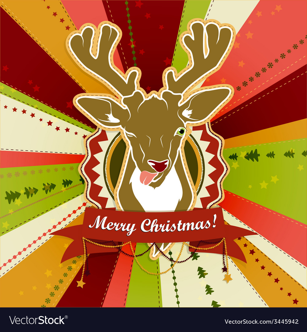 Vintage christmas card with deer showing his vector | Price: 1 Credit (USD $1)