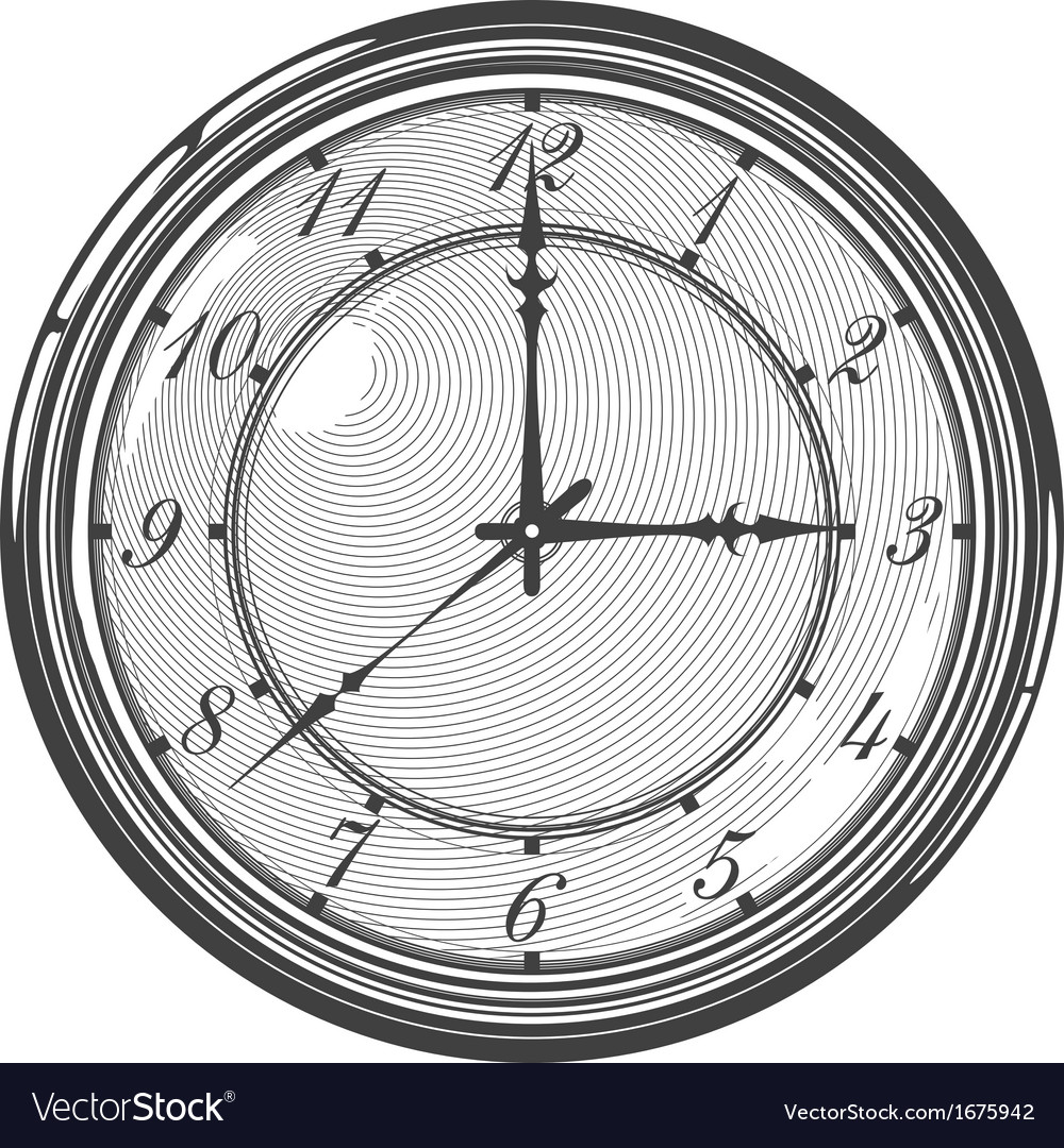 Vintage clock or watch in engraved style vector | Price: 1 Credit (USD $1)