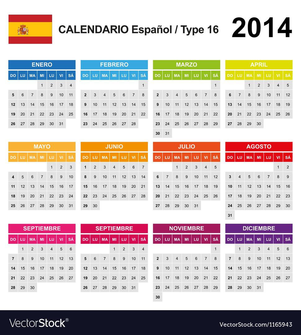 Calendar 2014 spain type 16 vector | Price: 1 Credit (USD $1)
