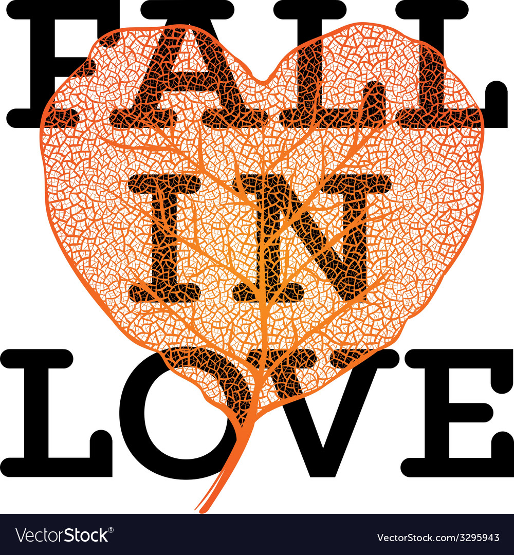 Fall in love - autumn sale poster with leaf heart vector | Price: 1 Credit (USD $1)