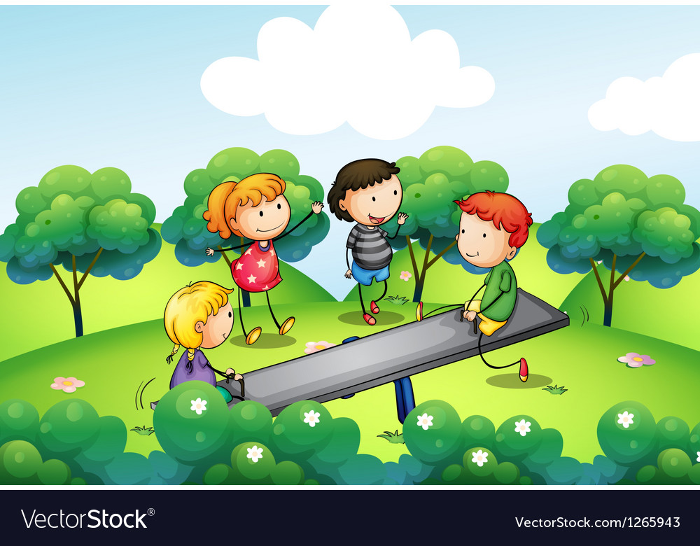 Four kids playing with the seesaw at the hill vector | Price: 1 Credit (USD $1)