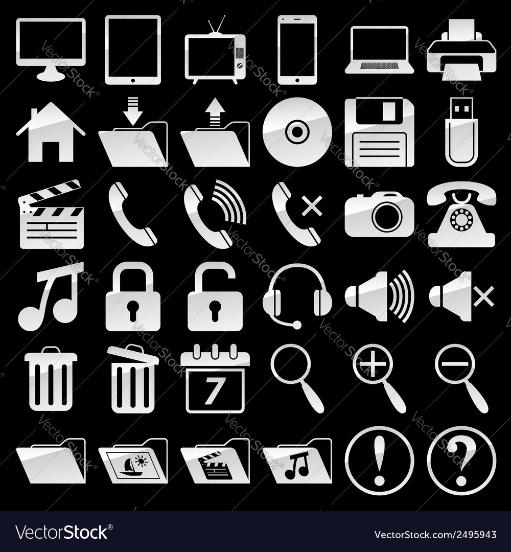 Set of web and media icons vector | Price: 1 Credit (USD $1)