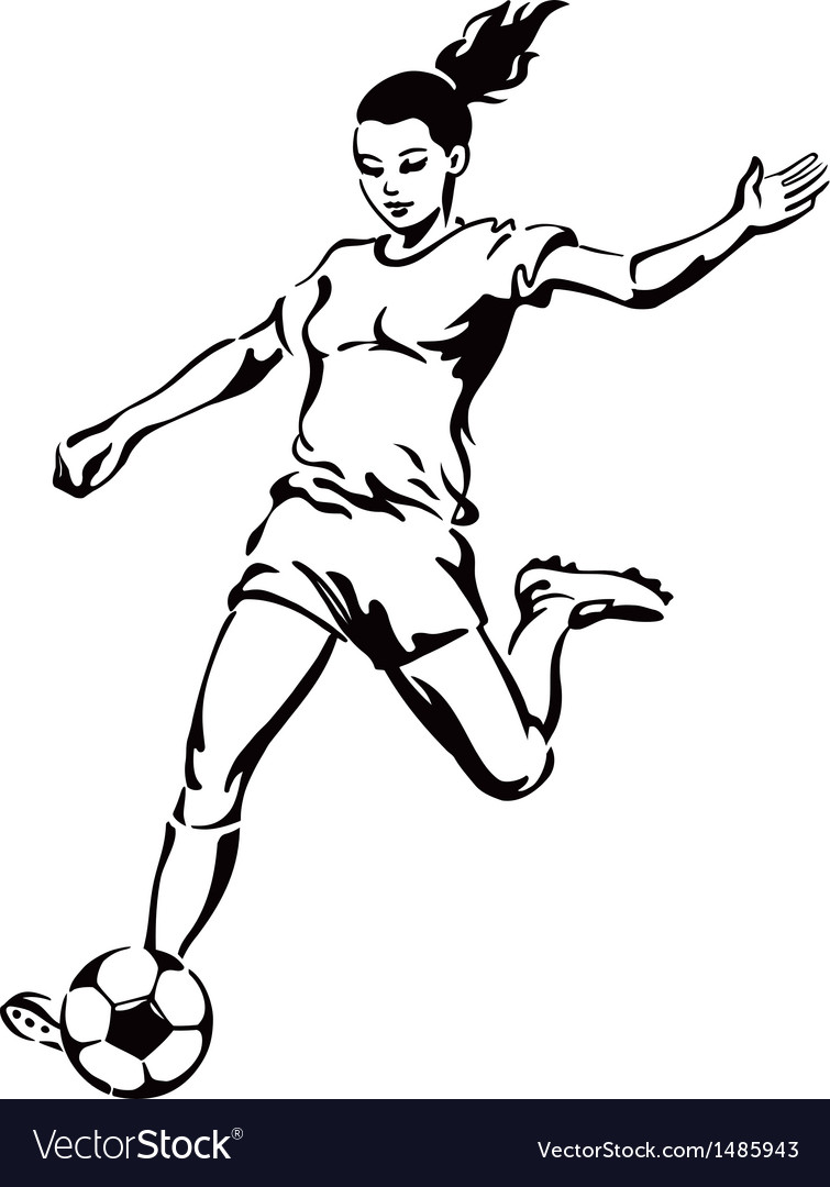 Soccer football female player vector | Price: 1 Credit (USD $1)