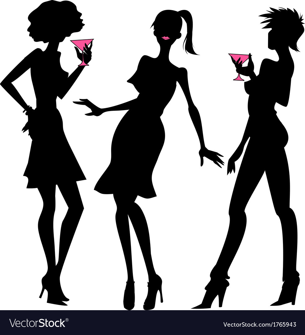 Three party girls silhouettes vector | Price: 1 Credit (USD $1)