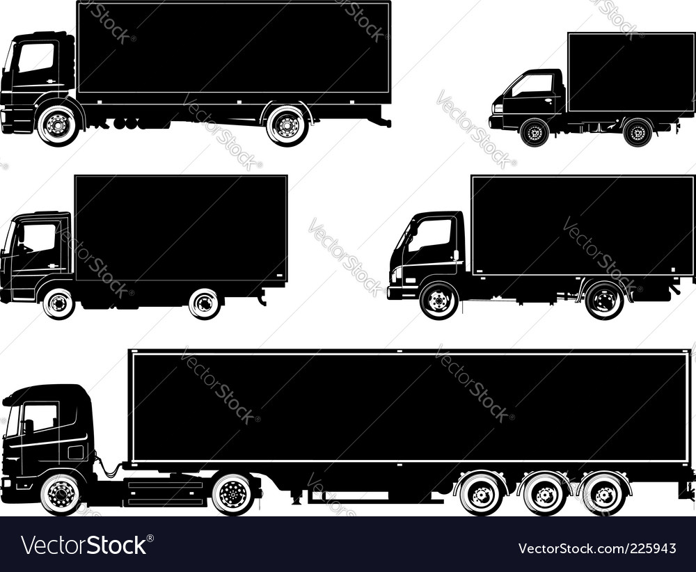 Trucks silhouette vector | Price: 1 Credit (USD $1)
