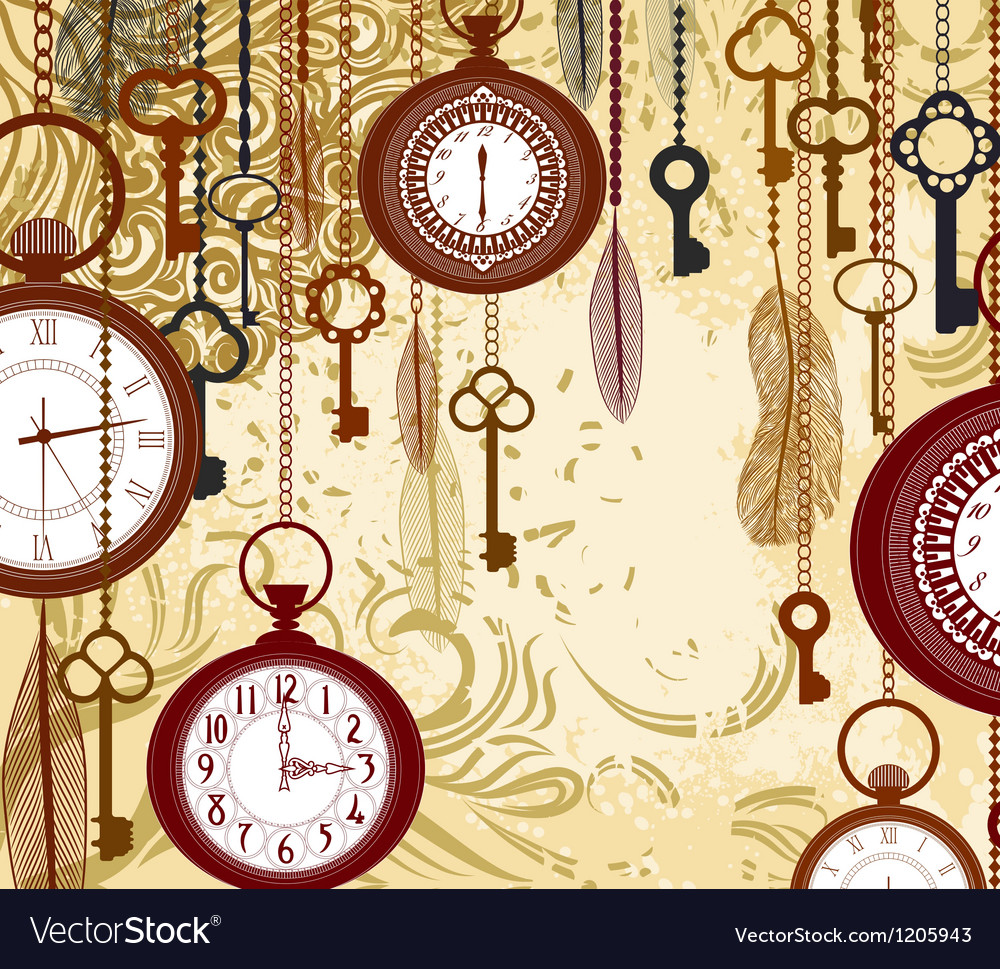 Vintage grungy background with keys and watches vector | Price: 1 Credit (USD $1)