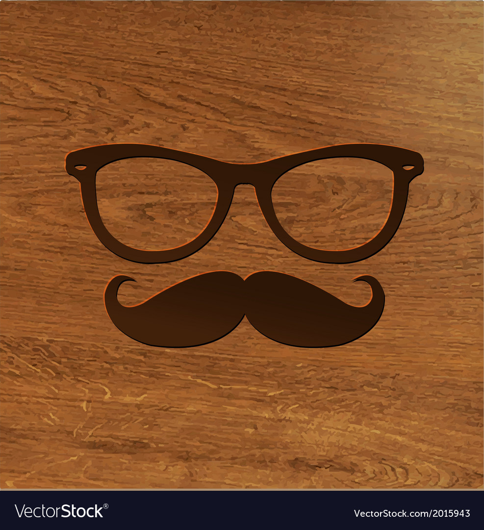 Wooden background with hipster symbol vector | Price: 1 Credit (USD $1)