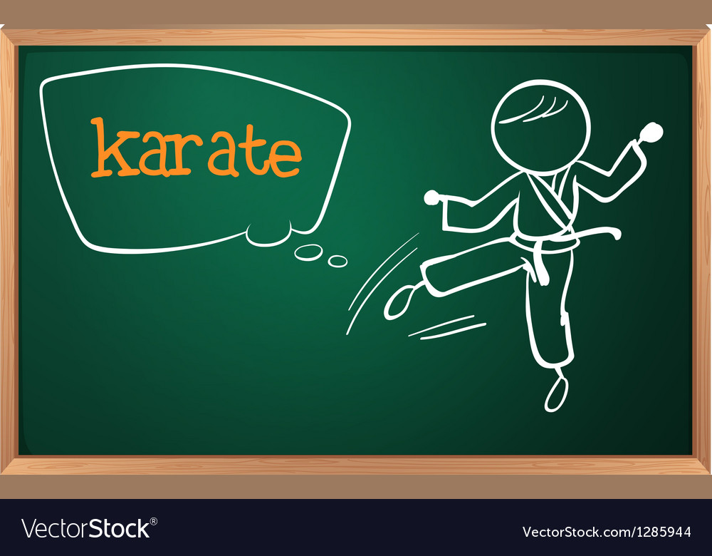 A blackboard with a drawing of a man doing karate vector | Price: 1 Credit (USD $1)