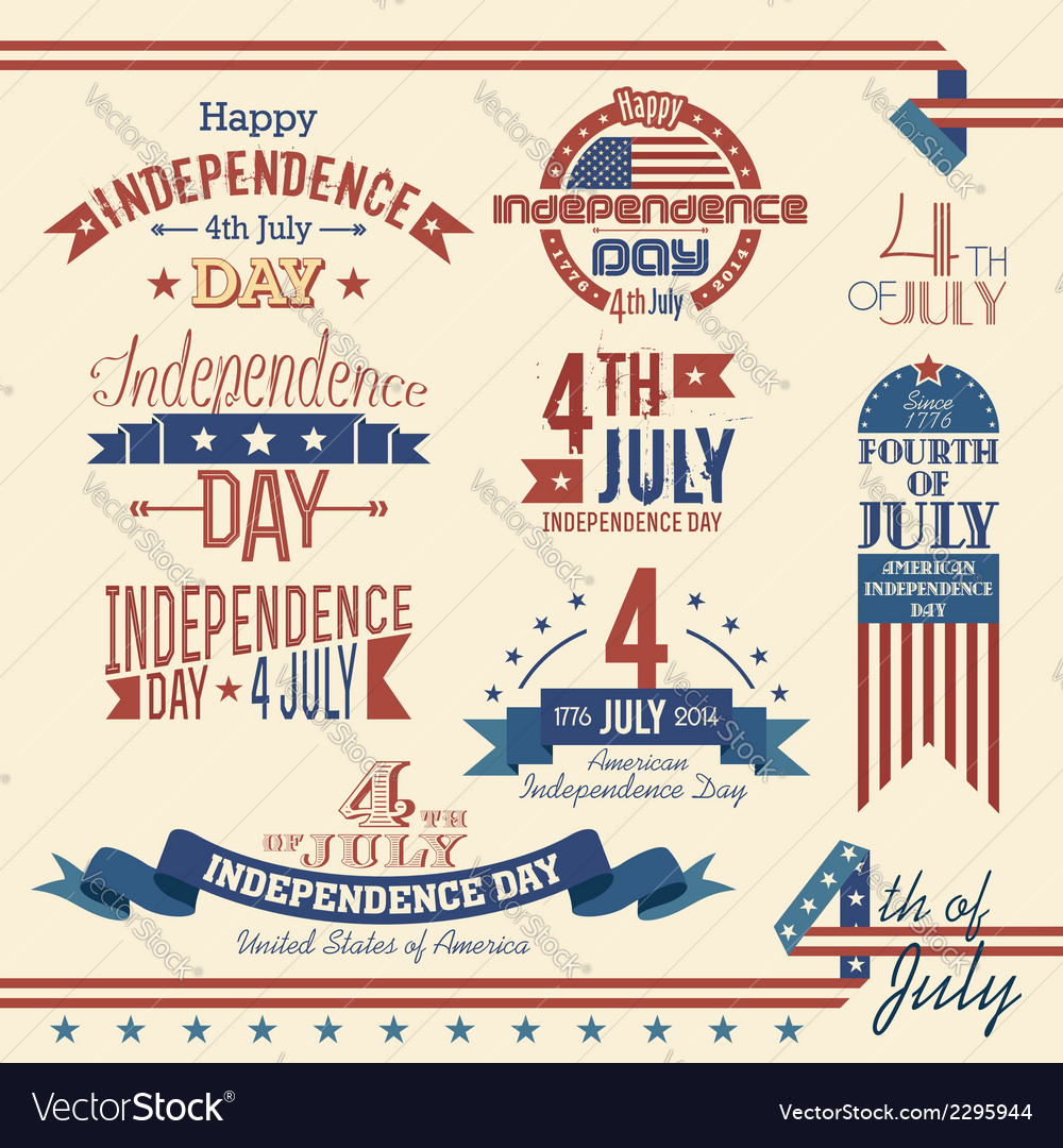 American independence day label set vector | Price: 1 Credit (USD $1)