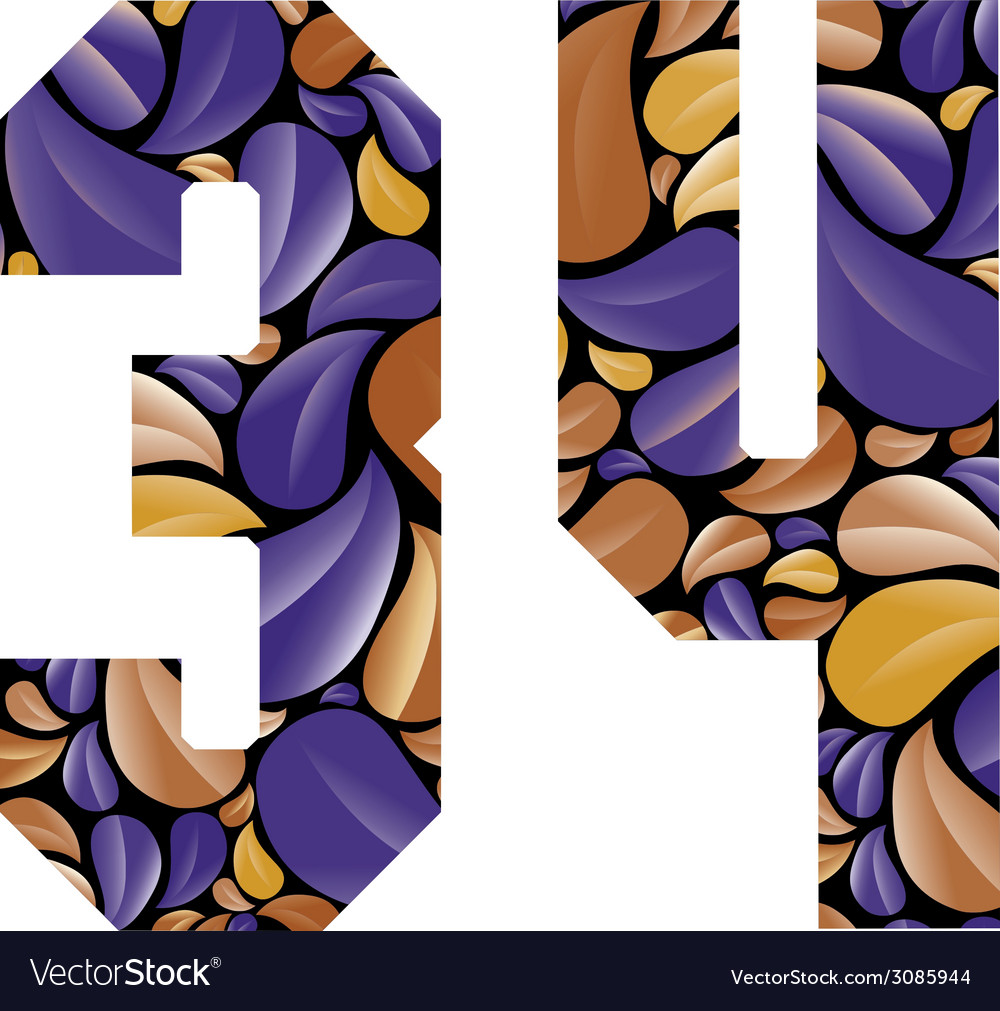 Beautiful floral numbers 3 and 4 vector | Price: 1 Credit (USD $1)