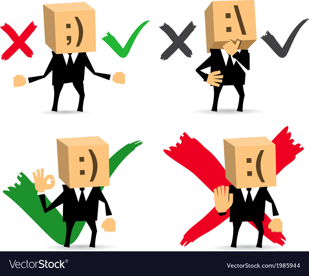 Businessman yes no do not know vector | Price: 1 Credit (USD $1)