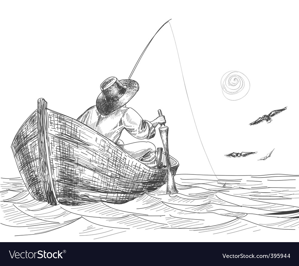 Fisherman drawing vector | Price: 1 Credit (USD $1)