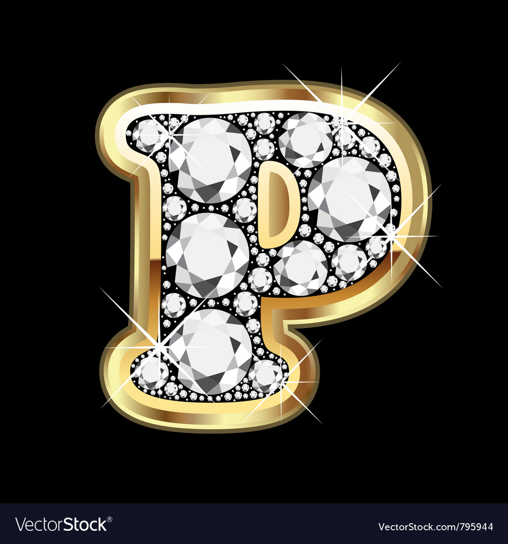 Letter p gold and diamond vector   Price: 1 Credit (USD $1)
