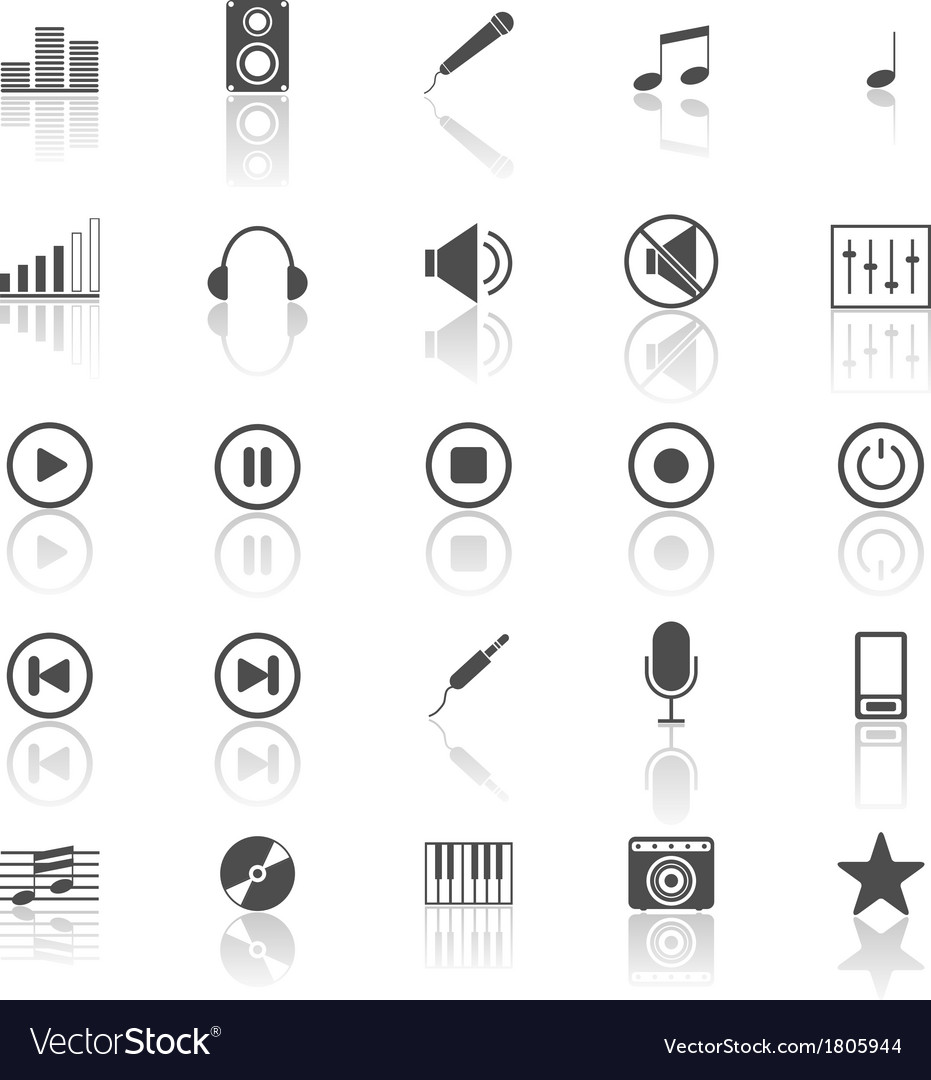 Music icons with reflect on white background vector | Price: 1 Credit (USD $1)