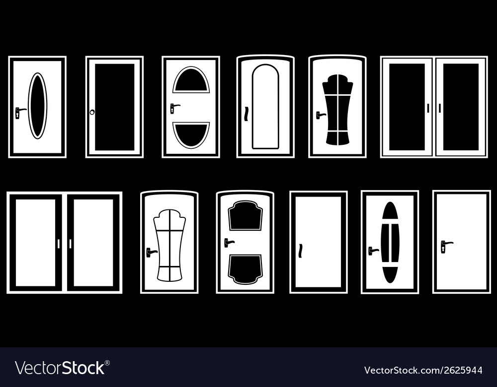 Set isolated doors vector | Price: 1 Credit (USD $1)