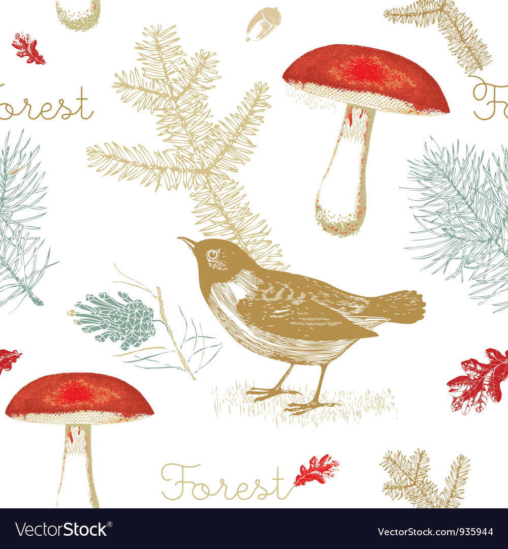 Vintage forest birds pattern vector | Price: 1 Credit (USD $1)