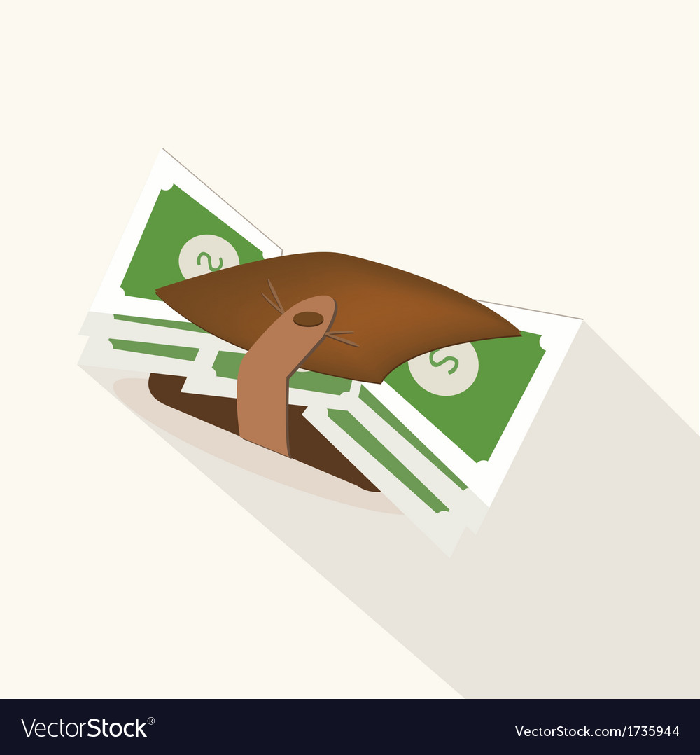 Wallet with dollar banknotes vector | Price: 1 Credit (USD $1)