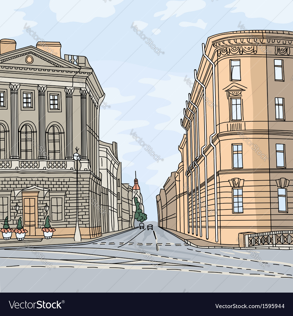Wide avenue in the city center vector | Price: 1 Credit (USD $1)