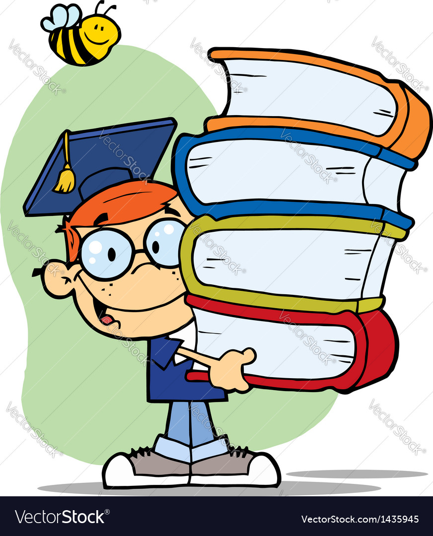 Bee over a graduation boy with books vector | Price: 1 Credit (USD $1)