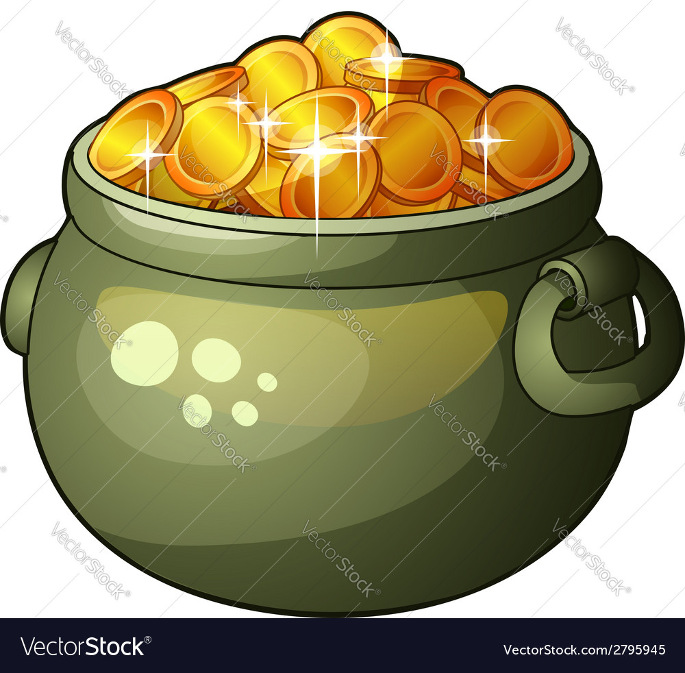Cauldron with money isolated on white background vector | Price: 1 Credit (USD $1)