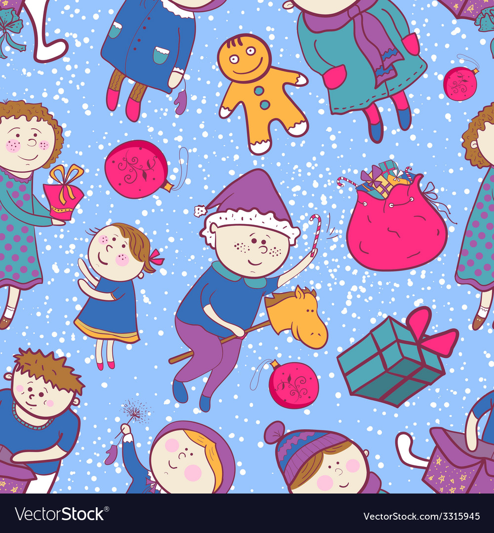 Childish christmas seamless pattern vector | Price: 1 Credit (USD $1)
